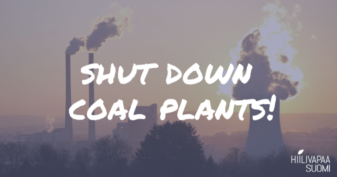 a landscape with a coal plant and smoke coming from chimneys, text on top: shut down coal plants!
