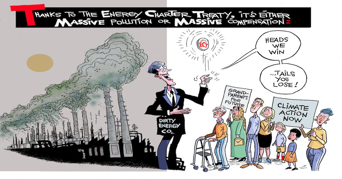 Piirroskuva, joka kuvaa sitä, miten energiayhtiöt voivat saada valtioilta suuria korvauksia epäreilun ECT-sopimuksen varjolla.